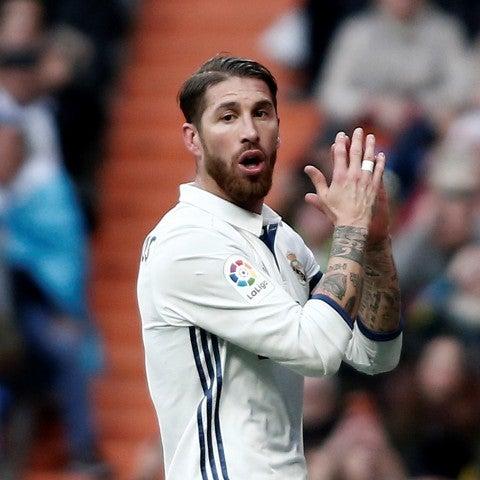 Sergio Ramos lamenta una ocasión fallada contra el Málaga