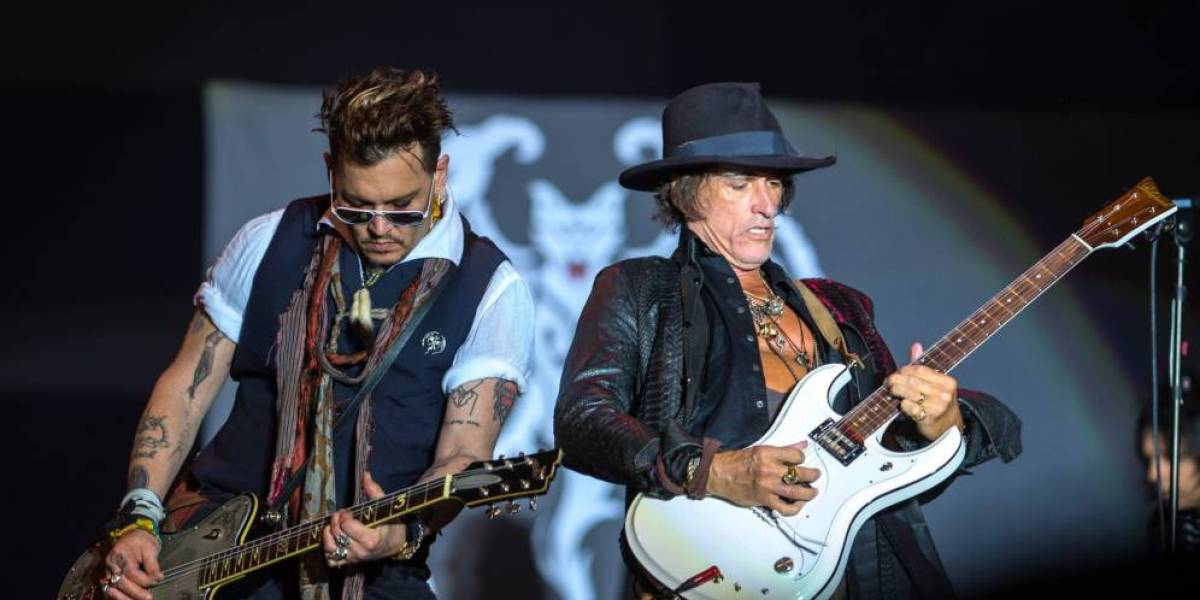 El guitarrista de Aerosmith Joe Perry junto a Johnny Depp