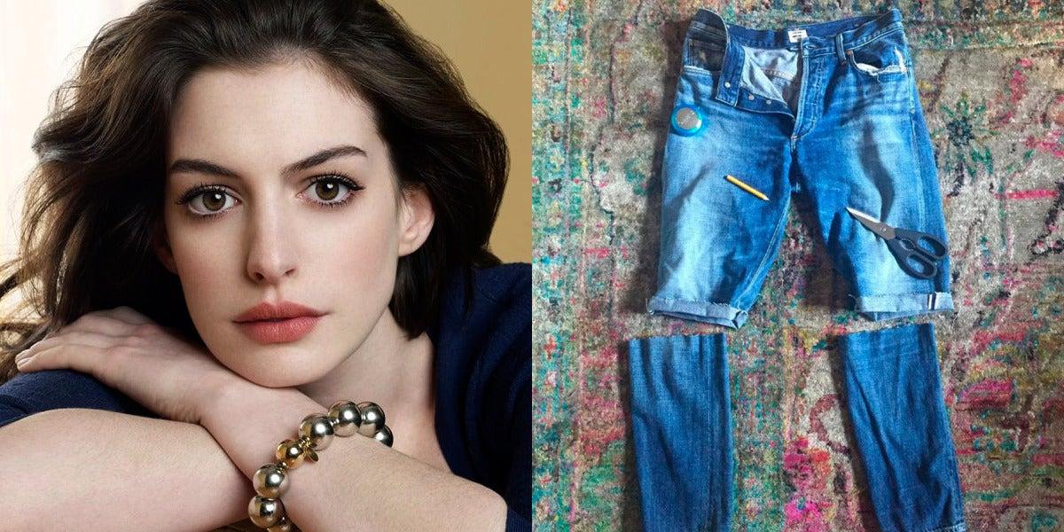 Anne Hathaway se hace sus propios shorts, no tan cortos...
