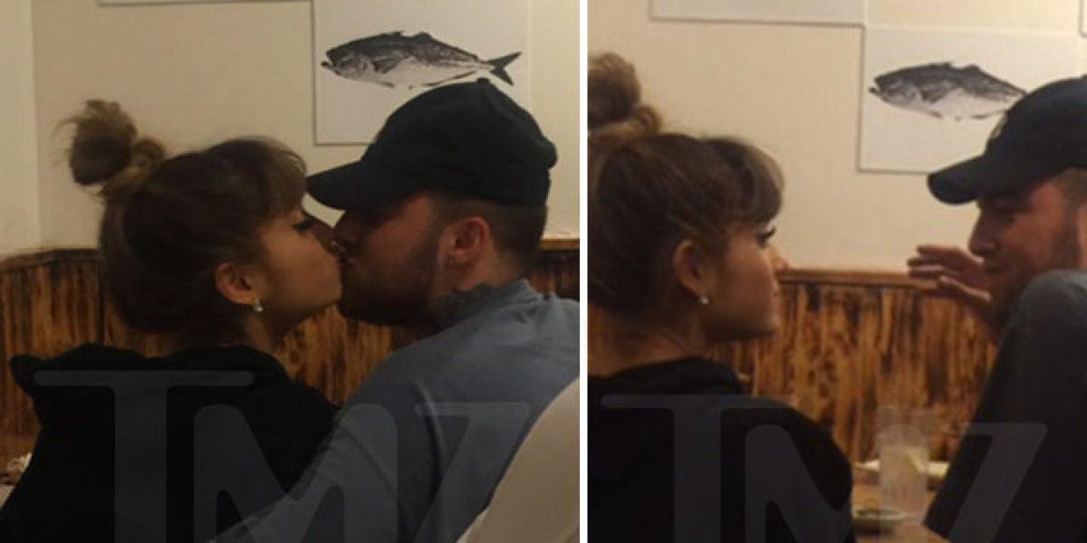 Ariana Grande besándose con Mac Miller en un restaurante