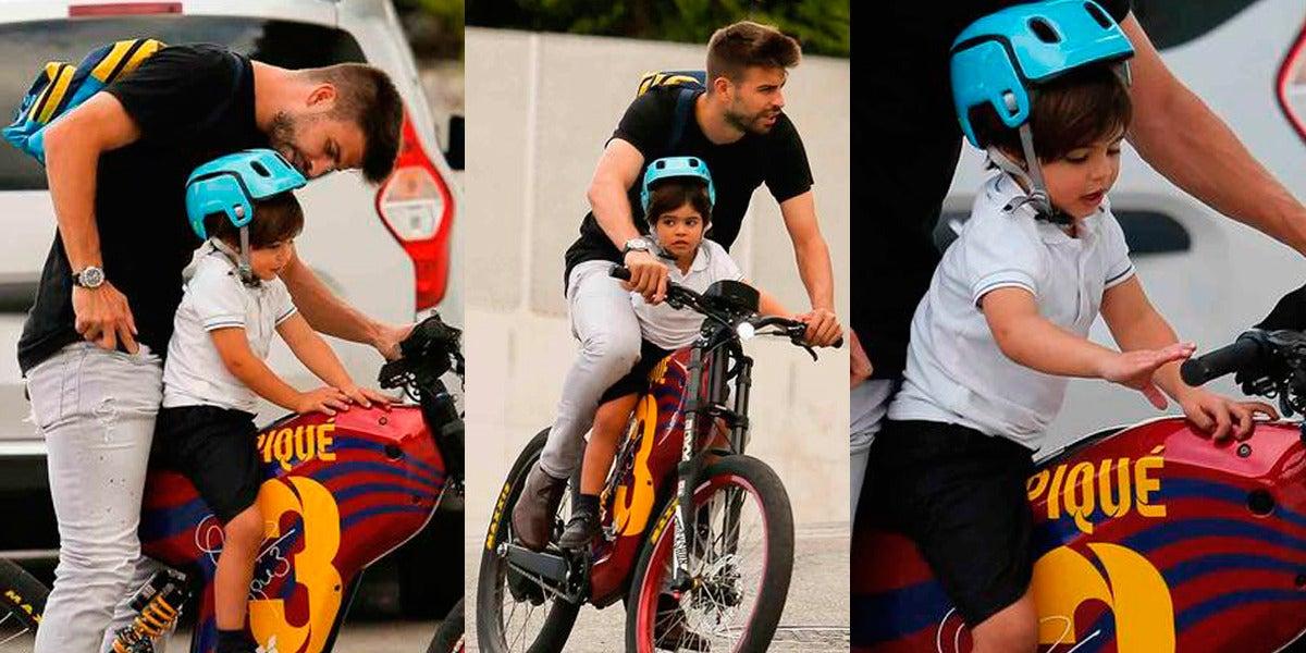 Piqué lleva a Milan en bicicleta