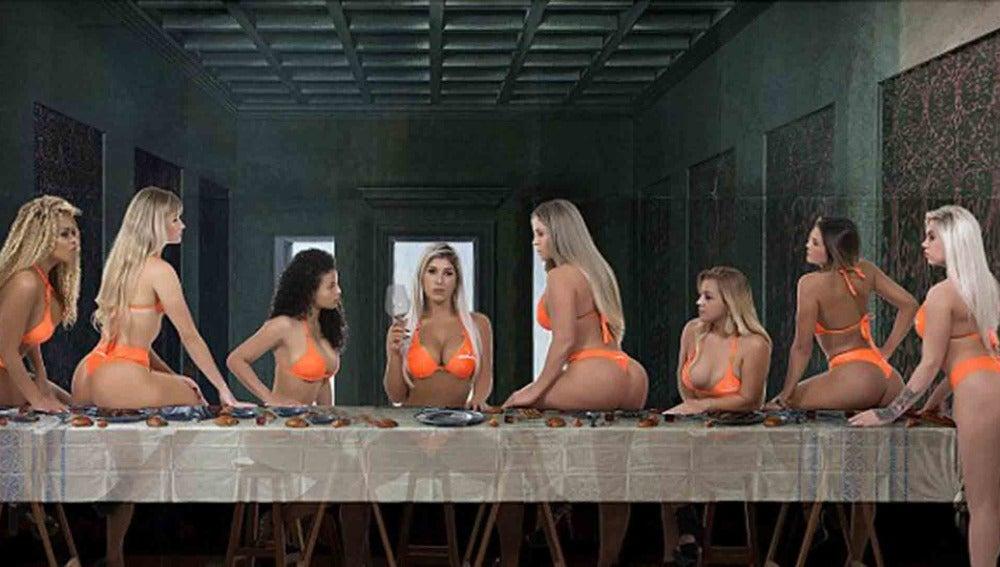 Las finalistas del certamen Miss Bum Bum 2016 posando como en La Última Cena de Leonardo Da Vinci