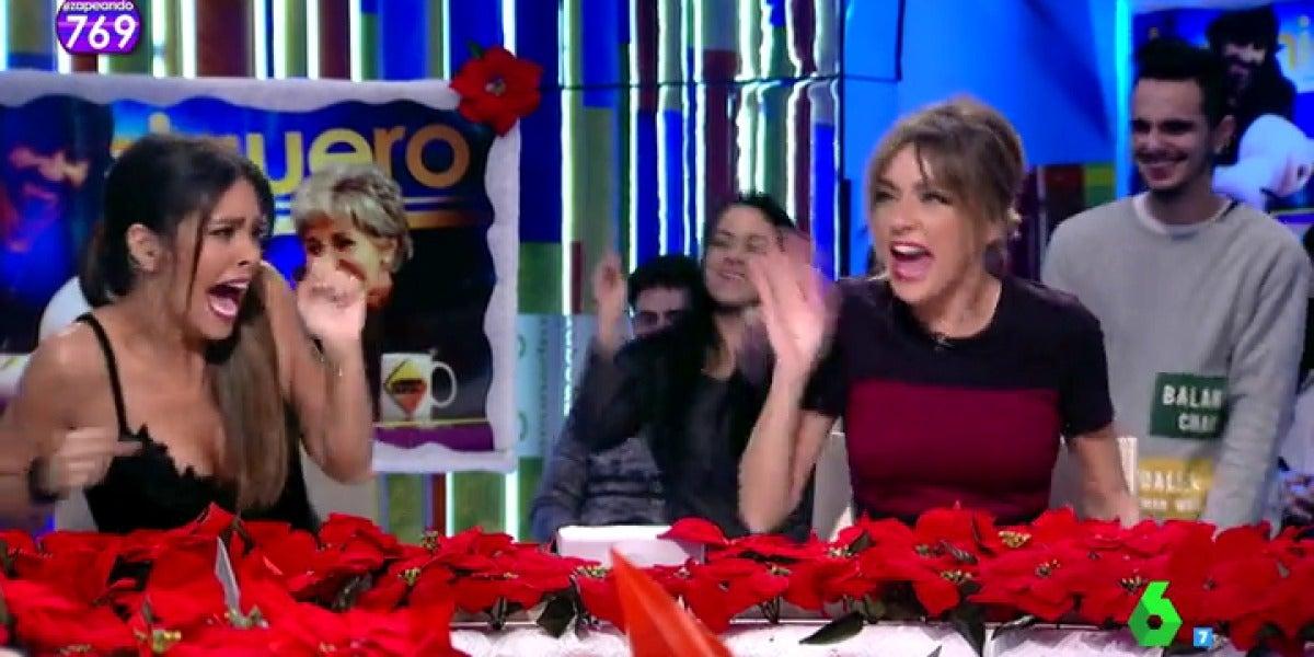 "Frame 12.762125 de: Cristina Pedroche abandona el plató de Zapeando después de un gran susto: ""Joder,  iros a la mierda"""