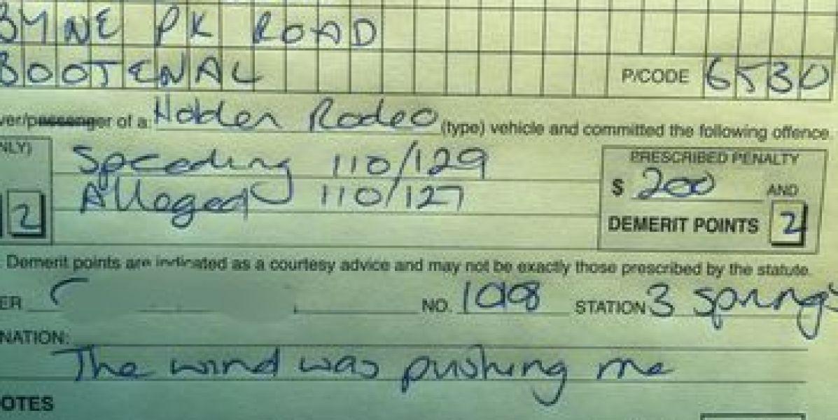 La peor excusa por exceso de velocidad