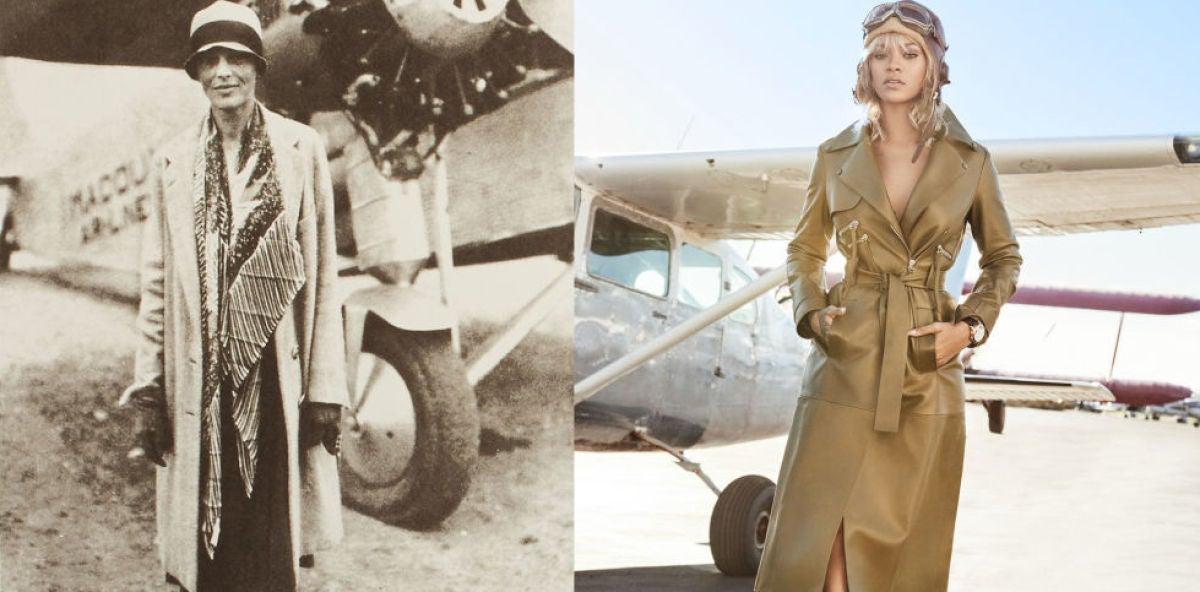 Amelia Earhart (izda.) y Rihanna (dcha.)