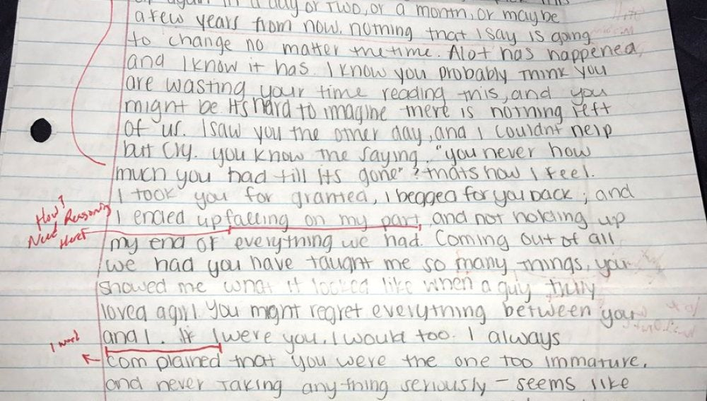 La carta que enviaron a Nick Lutz