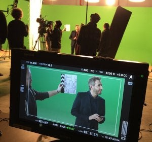 Frank Blanco en el rodaje del spot de Europa FM