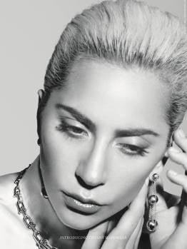 Lady Gaga posa con un collar y pendientes de Tiffany & Co.