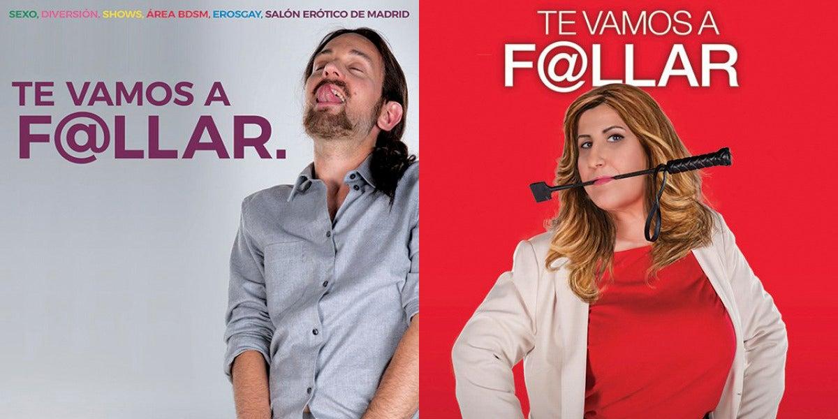 Dos actores imitan a Pablo Iglesias y Susana Díaz para anunciar el Salón Erótico de Barcelona
