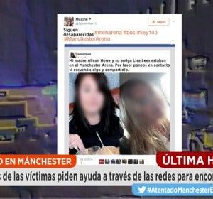"""Frame 65.478094 de: Las redes se llenan de mensajes desesperados: """"Mi hija estaba en el concierto de Manchester y su móvil no da señal"""""""