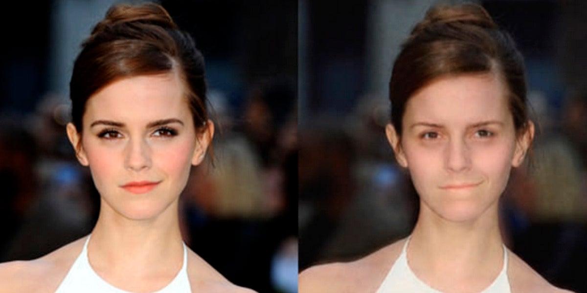 Emma Watson sin maquillaje por la app MAKEAPP