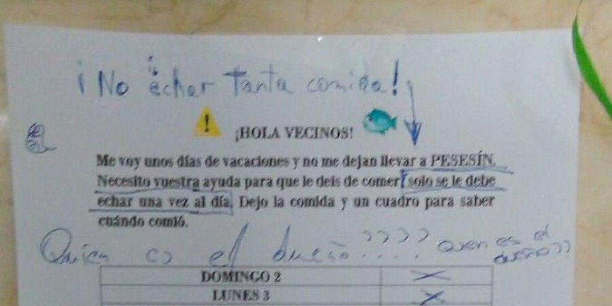 La nota que dejó el propietario junto al 'Pesesín'