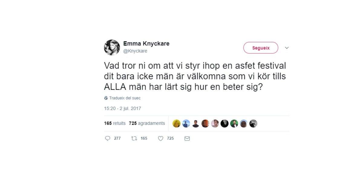 Tuit que propone un festival solo para mujeres
