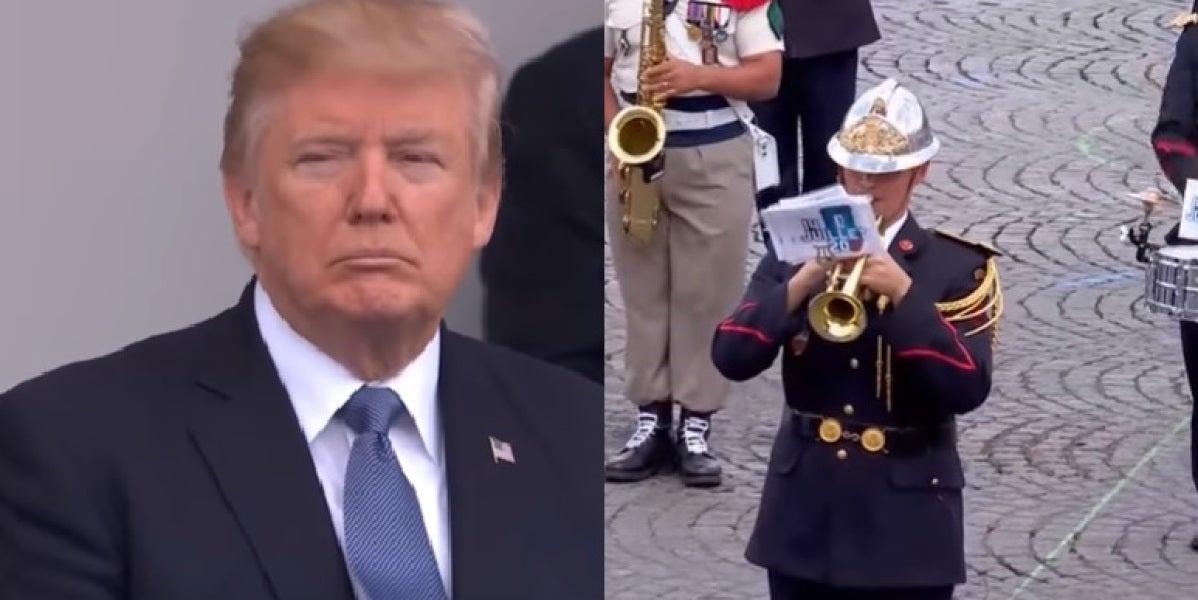 Donald Trump durante el desfile del Día de la Bastilla