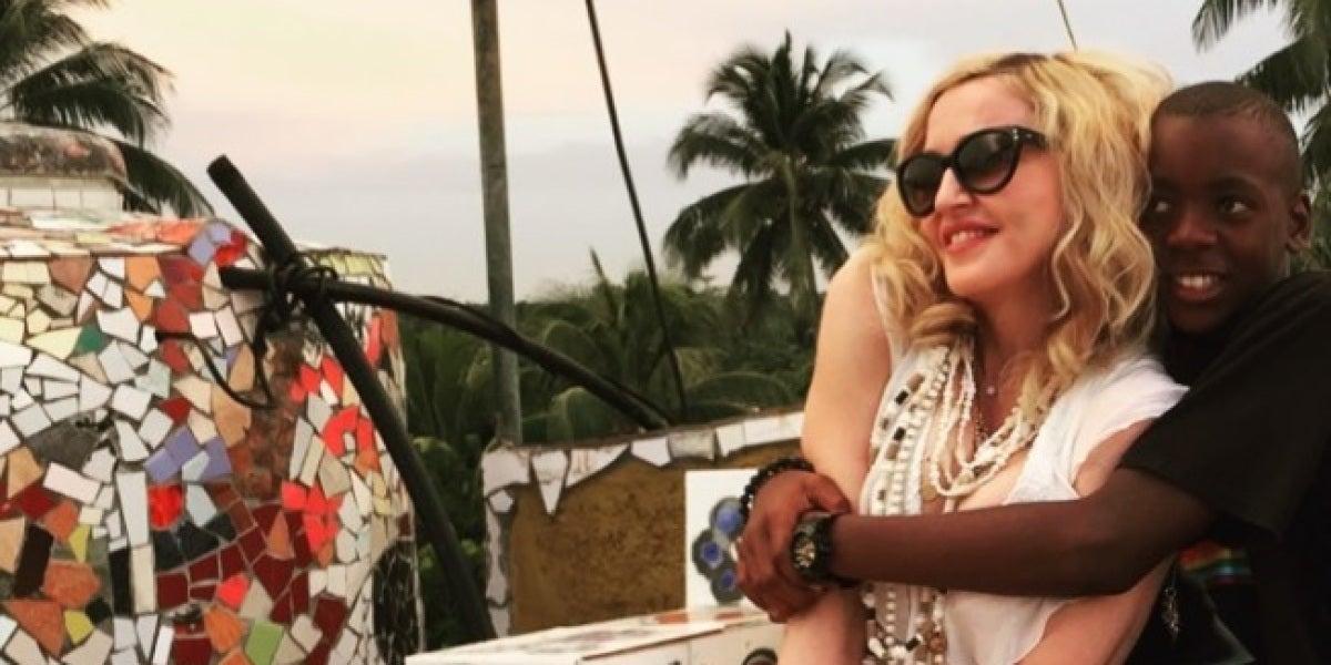 Madonna y su hijo David Banda
