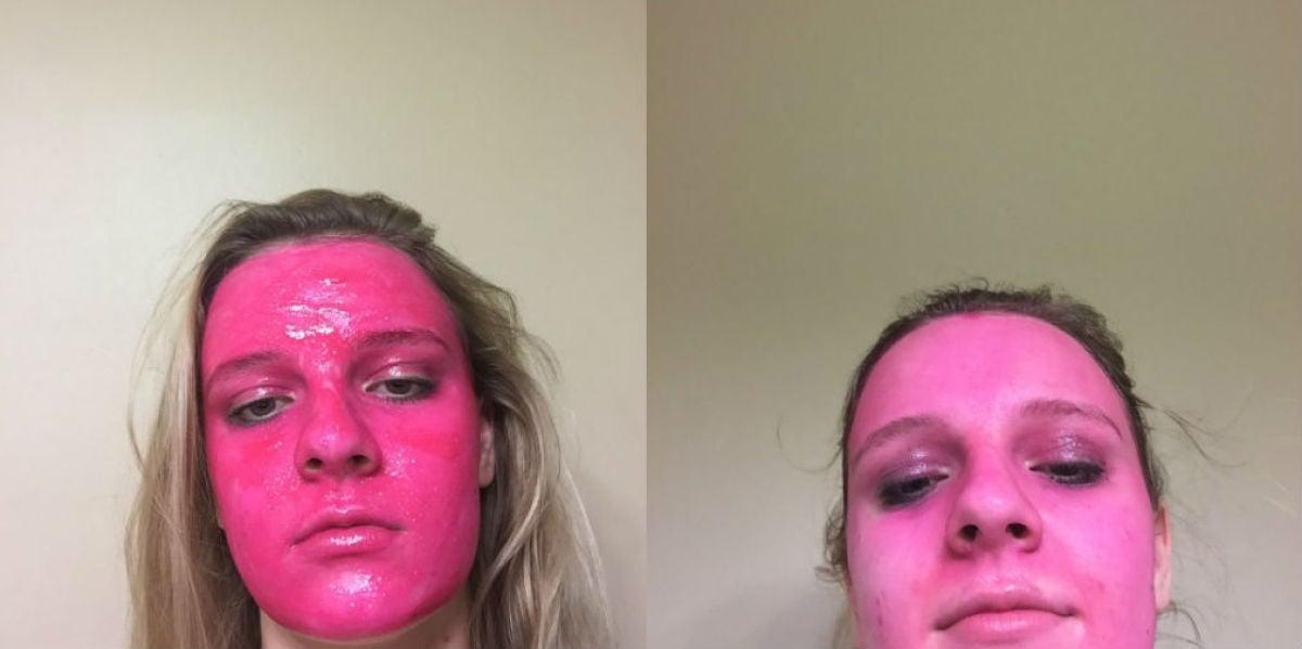 Una chica se pinta la cara de rosa, se arrepiente y amenaza con denunciar al fabricante