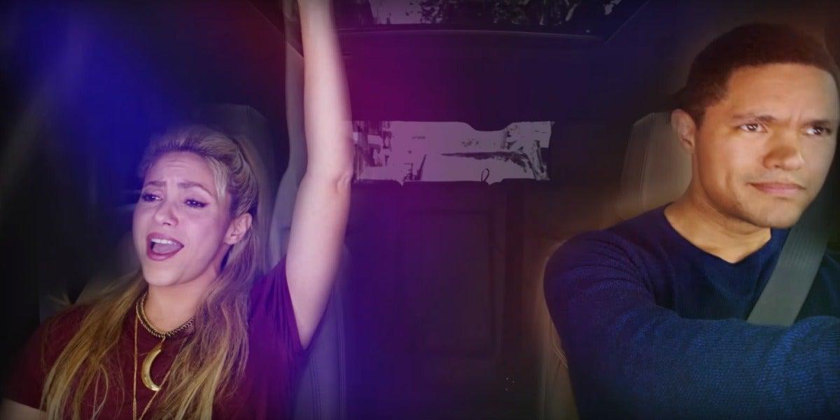 Shakira y Trevor Noah en el primer Carpool Karaoke en España