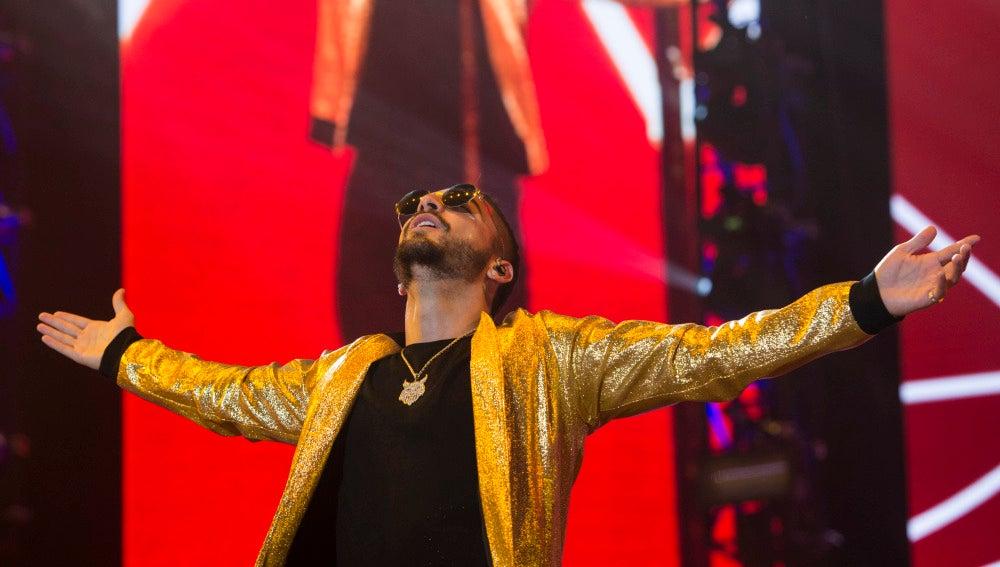 Maluma durante su concierto en Madrid