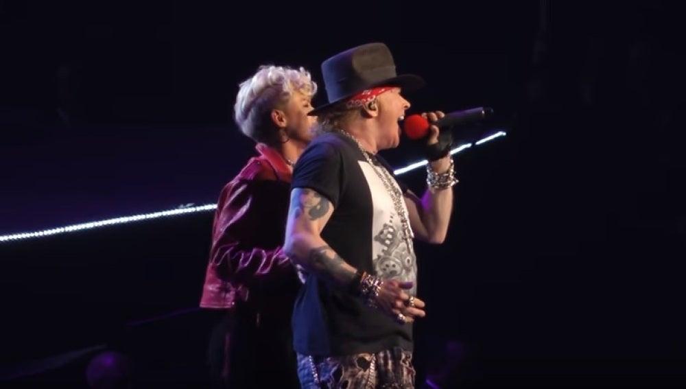 Axl Rose y Pink en el Madison Square Garden