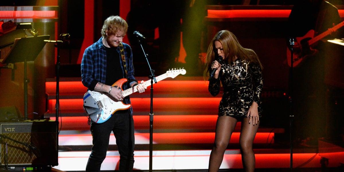 Ed Sheeran y Beyoncé en 2015
