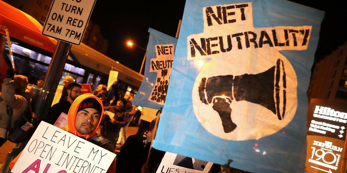 Protestas en Washington el pasado 7 de diciembre contra el fin de la neutralidad en la red