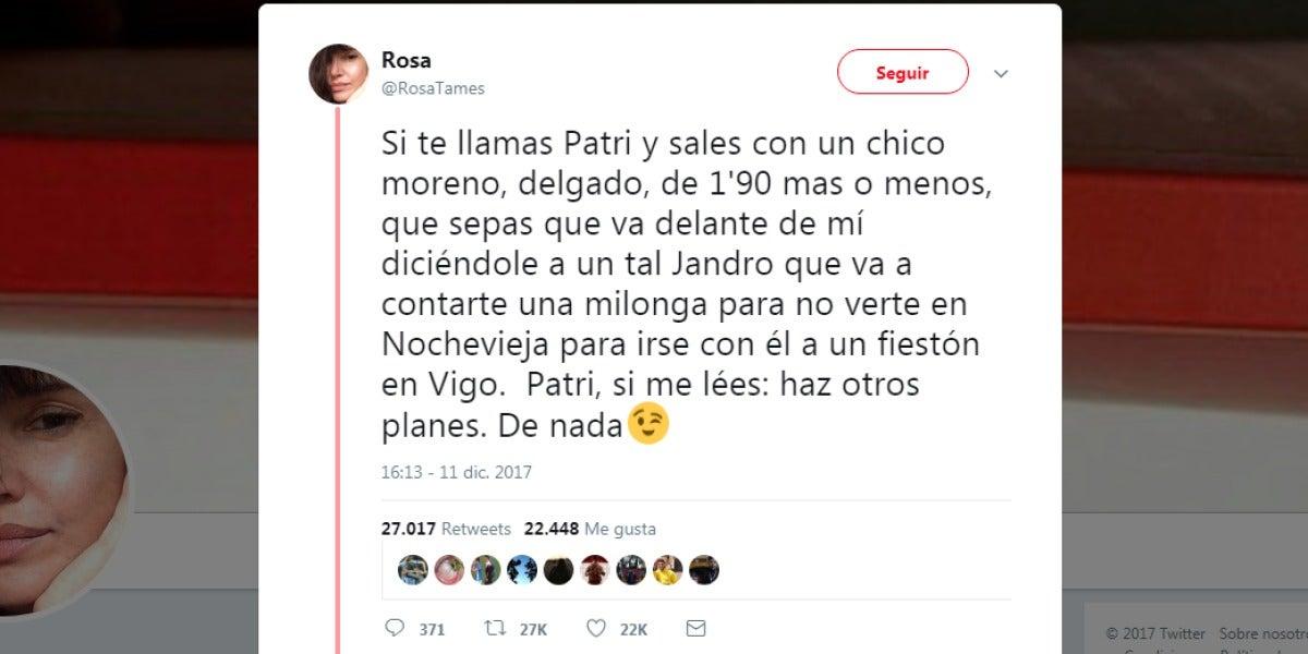 El tuit advirtiendo a Patri de que su novio quiere engañarla