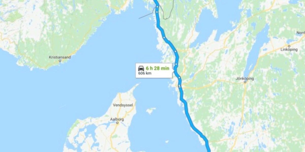 Distancia desde Copenhague a Oslo