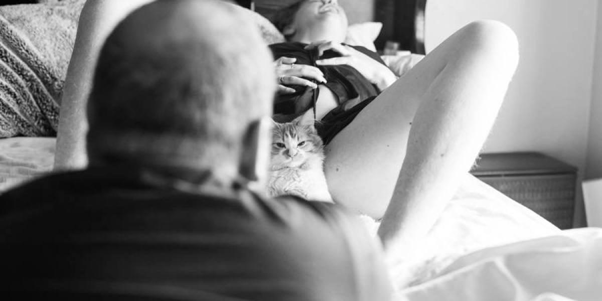 Una fotógrafa simula dar a luz a un gato