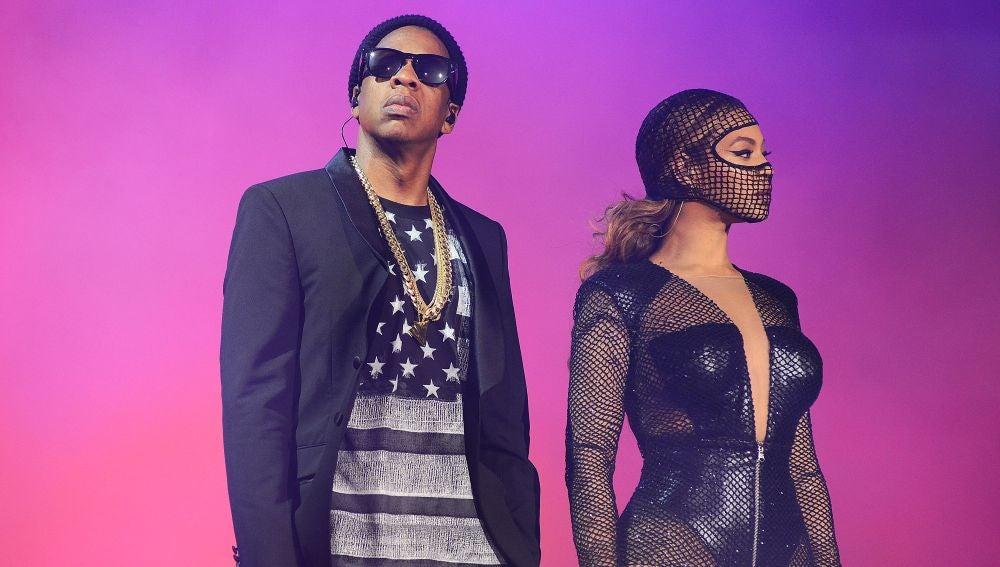 Jay Z y Beyoncé sobre el escenario