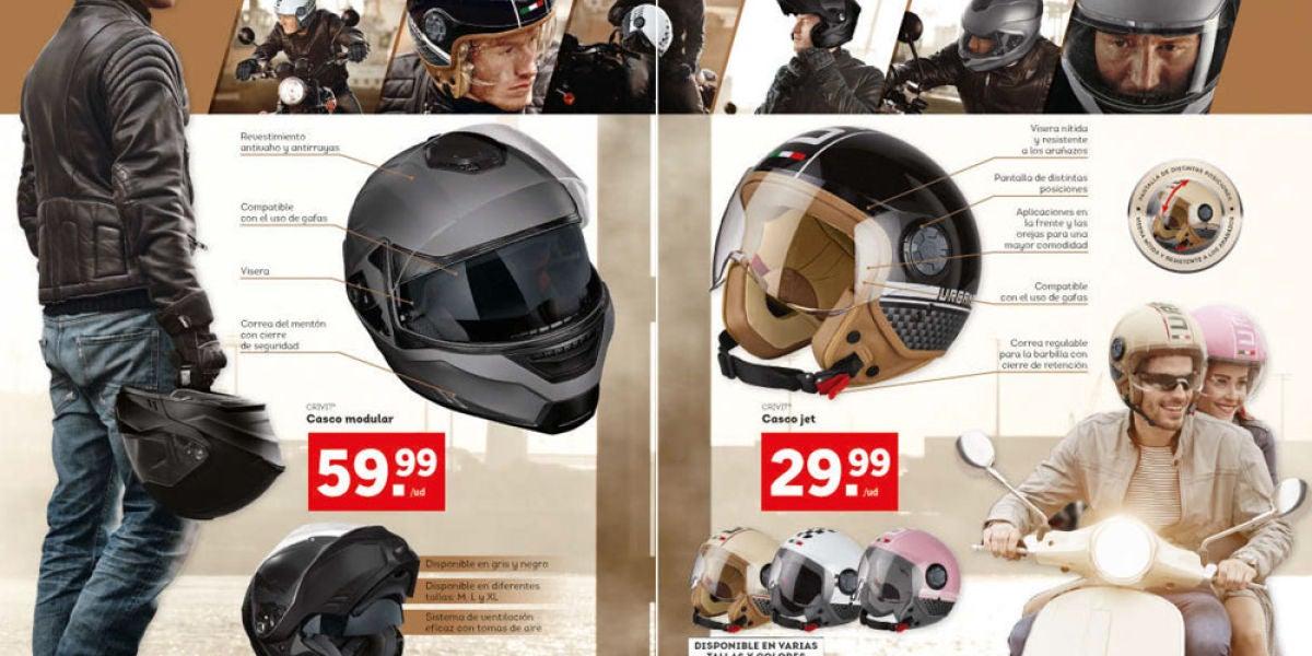 Catálogo de Lidl con los cascos Crivit