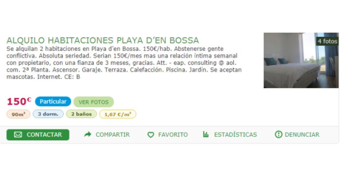 Polémico anuncio de alquiler de habitación en Ibiza