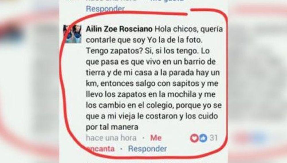 Comentario de Ailin Rosciano a las burlas por su atuendo