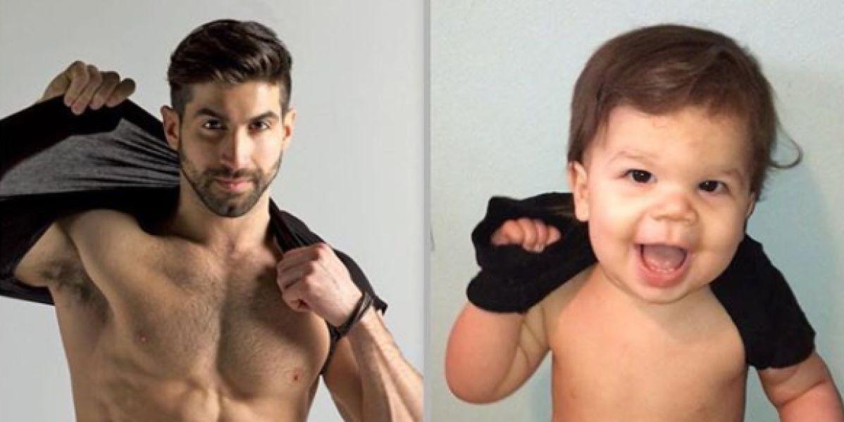 """Este bebé """"trollea"""" de manera adorable todas las poses de su tío modelo"""