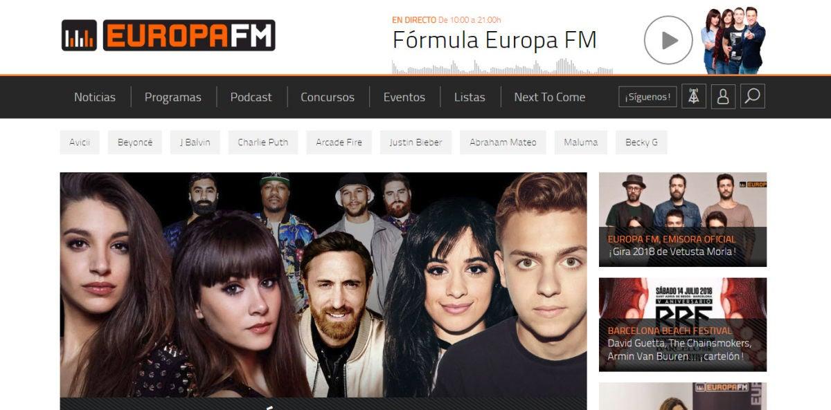 La web de Europa FM