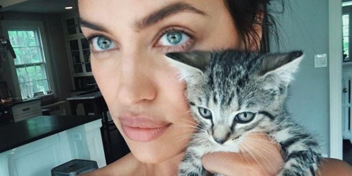 Irina Shayk con un gatito