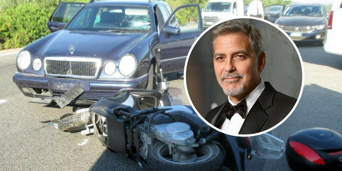 El impactante accidente de George Clooney en moto