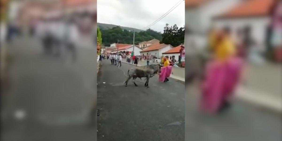 Un hombre torea una vaquilla con su hija de 3 años en brazos