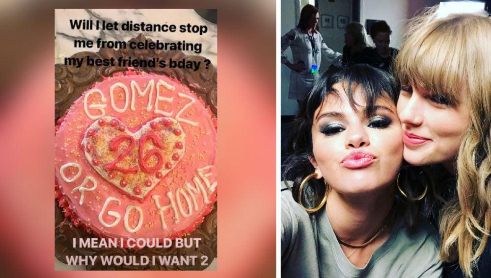 Taylor Swift envía una tarta a Selena Gomez por su cumpleaños