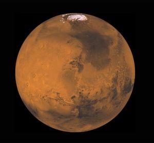Imagen de la capa de hielo en el polo sur de Marte