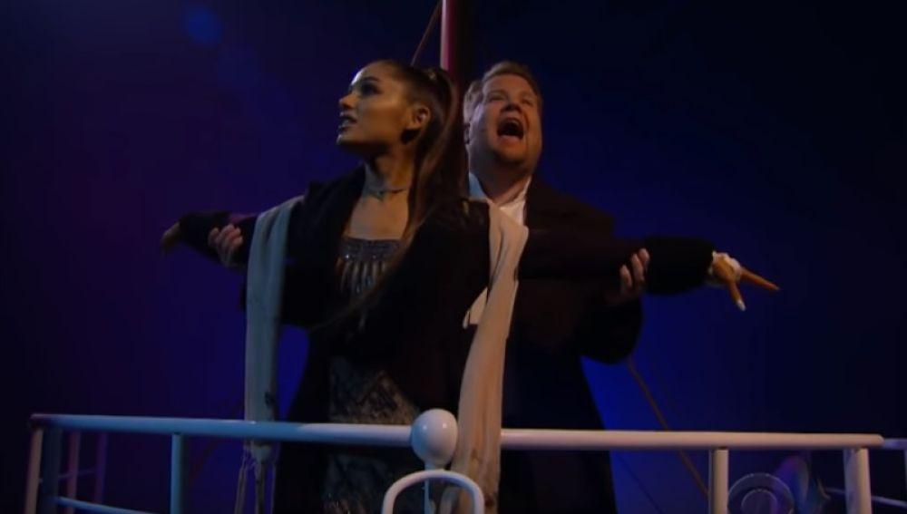 Ariana Grande y James Corden
