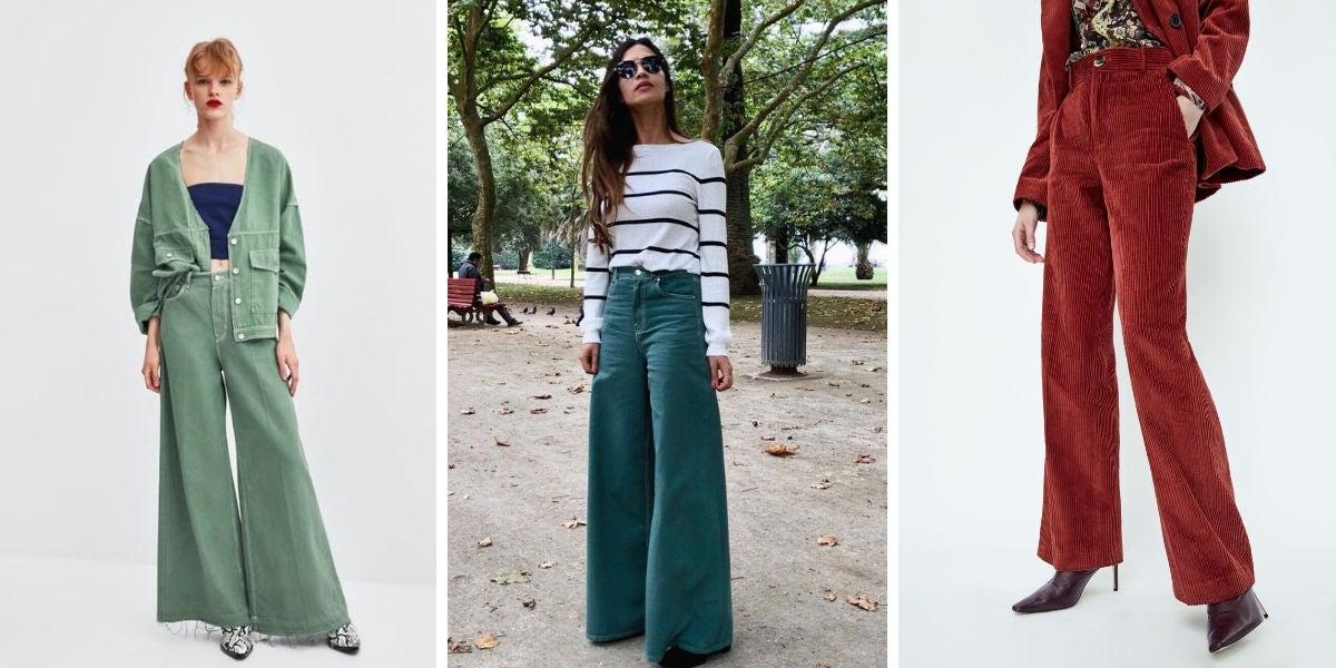 Pantalones palazzo en color verde (29,95€) y pantalón pana rojo (39,95€)