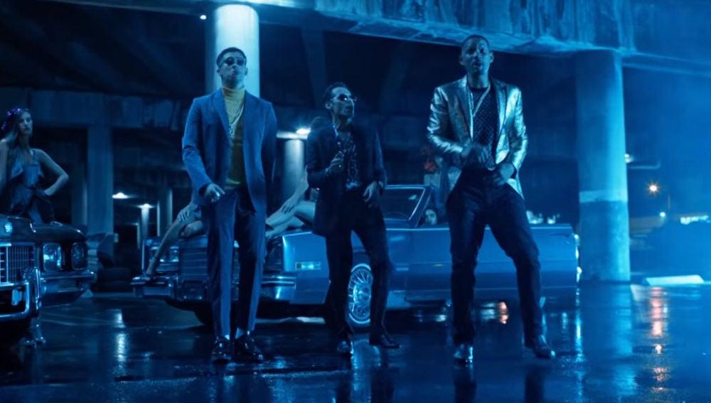 Marc Anthony, Will Smith y Bad Bunny en el videoclip de 'Está rico'