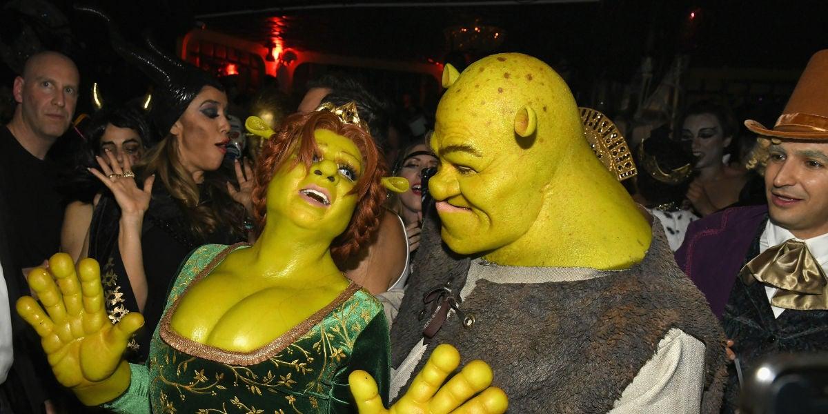 Heidi Klum y Tom Kaulitz disfrazados de Fiona y Shrek