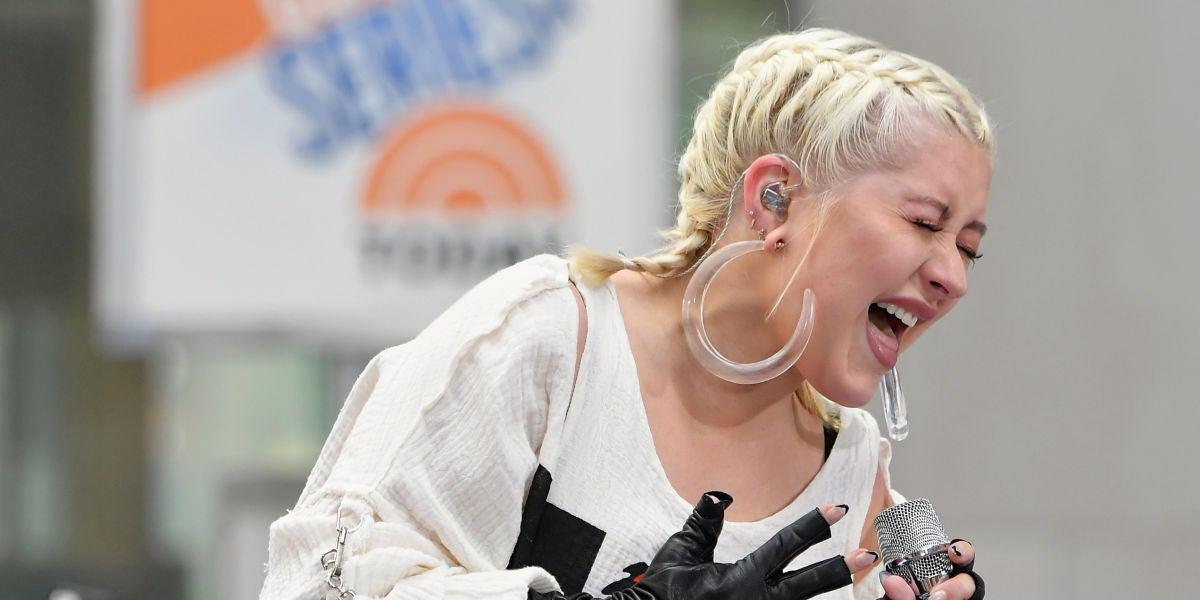 Christina Aguilera durante su actuación en el Citi Concert Series