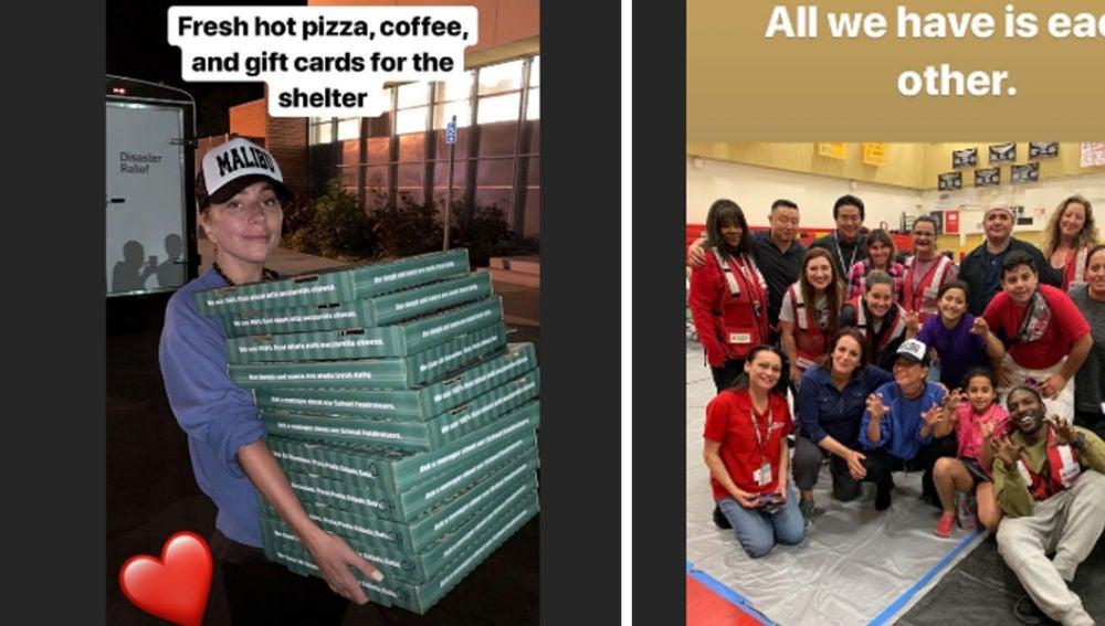 Lady Gaga llevando pizzas en California