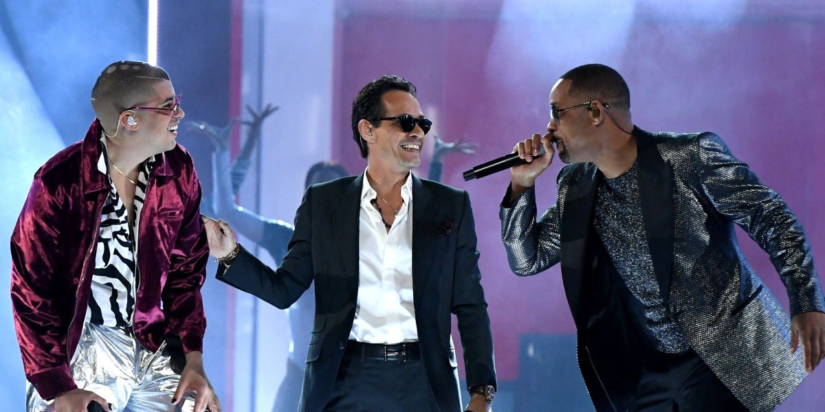 Bad Bunny, Marc Anthony y Will Smith en su actuación en los Latin Grammy