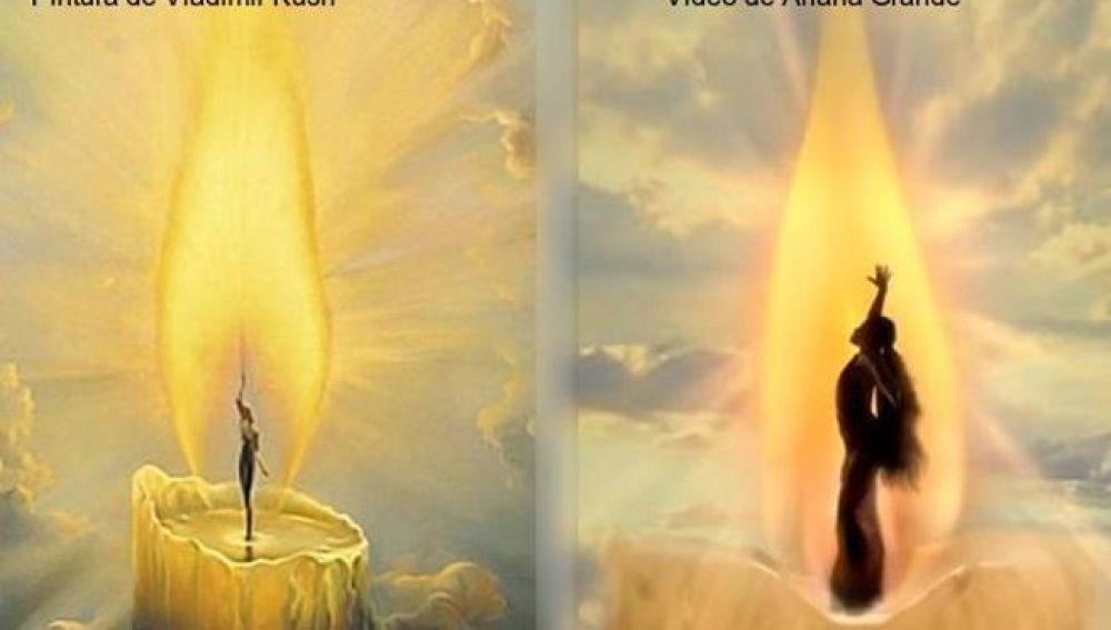 Similitud entre la obra de Vladimir Kush y una imagen del videoclip de Ariana Grande