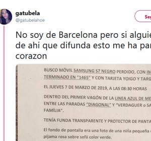 Twitter se hace eco de un anuncio para encontrar un móvil perdido en Barcelona