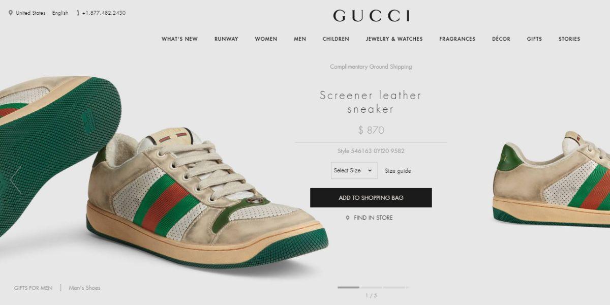 """Las zapatillas Gucci """"usadas y sucias"""""""