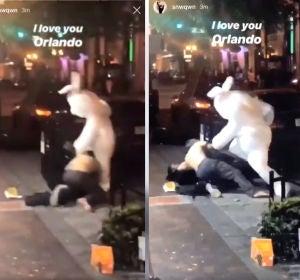 Pelea en las calles de Orlando con un conejo de Pascua